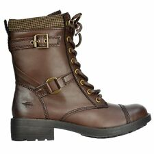 Womens Rocket Dog Thunder Lace Up Buckle Military Ankle Boots Derby Dark Brown