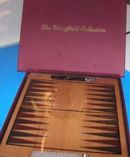 New Backgammon Complete Game Woodfield Collection Heavy Solid Natural Wood Board