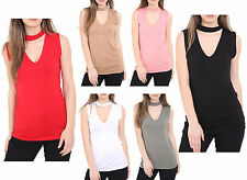 New Womens Ladies Choker V Neck Sleeveless Top Blouse Shirt Plus Size UK 8-22