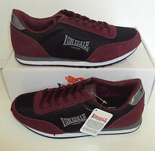 LONSDALE Men's Broughton Black Burgundy Casual Trainers Shoes New Size 9 11 12