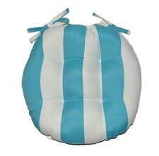 In / Outdoor Round Tufted Bistro Cushion - Cancun Blue White Stripe Choose Size
