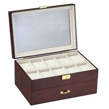 Diplomat Ten Watch Case - Cream Leatherette Inerior Drawer & Pen/Cufflink Store