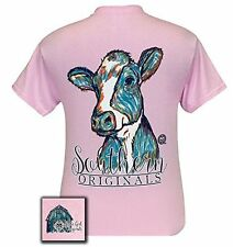 Girlie Girl Originals Unisex T-Shirt - Watercolor Cow - Color Light Pink