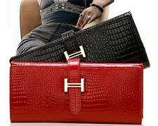 Red & Black Alligator pattern Genuine patent leather womens Long wallet