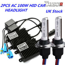 2x 100W HID Xenon Conversion KIT Headlights H1 H4 H7 AC Metal Base Ballast Bulbs