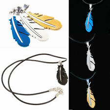 Unisex Stainless Steel Necklace Feather With Chain Necklace Pendant Charm Gift