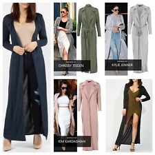 WOMENS STYLISH LONG SLEEVE MAXI CARDIGAN LADIES BELTED SLINKY DUSTER LONG JACKET