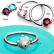 Surgical Steel Captive Ring w/ Solitaire Gem