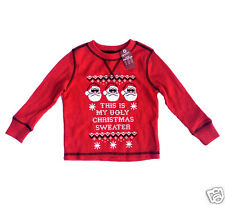 Arizona Jeans Toddler Boys Red Thermal Shirt Santa Claus Long Sleeve New Size 2T
