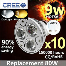 10x GU10 9W LED Dimmable Bulbs Spotlight Day Light Warm White Spot Light Bulb UK
