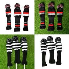 1 Set Retro Pom Pom Head Covers Knit Sock Black Golf Club Retro Headcovers Hot
