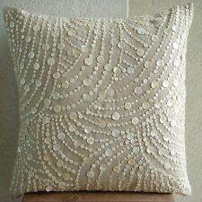 Mother Of Pearls Beige Cotton Linen 65x65 cm Euro Covers - Dreams N Pearls