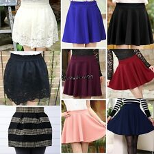 New Women Fashion Candy Color Waist Plain Rivet Pleated Bubble Mini Skirt OO55