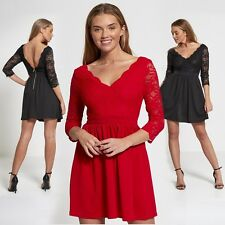 WOMENS LADIES FLORAL LACE TOP PLUNGE V NECK 3/4 SLEEVE ZIPPED BACK SKATER DRESS