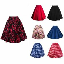 Floral New Women Vintage Stretch High Waist Plain Flared Pleated Skirt Dress