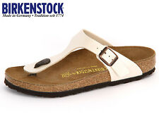 BIRKENSTOCK ARIZONA  GIZEH  PATENT WHITE / BLACK Arizona Soft Footbed NEW L M 91