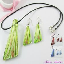 Triangle Lampwork Glass Pendant Cord Necklace & Matching Earring Set Pick Colour