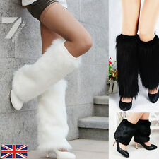 Fashion Winter Boot Cuff Fluffy Soft Furry Faux Fur Leg Warmer Boot Toppers 40cm
