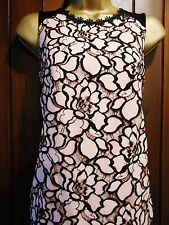 NEW Ladies Nude Blush Pink Blouse Black Floral Lace Tunic Top Size 6 - 20