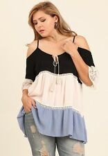 Umgee Plus Size Black & Misty Blue Cold Shoulder Tunic Top with Lace