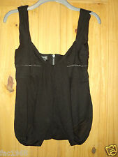 Firetrap Lacy Black Vest Top Cami Acrylic Wool Loose Sheer Layered New S