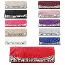 Womens Pleated Rhinestones Diamante Evening Bridal Prom Envelope Clutch Hand Bag