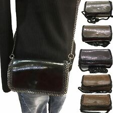 small Italy leather Purse Evening Purse Clutch Shoulder bag Necklace Chain black