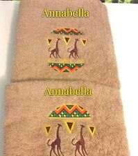Personalised and Embroidered Towels, Hand and Bath Towels, Africa Design