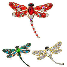 Women's Dragonfly Crystal Brooch Lovely Rhinestone Scarf Pin Jewelry Stylish