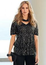 KALEIDOSCOPE ALL OVER SEQUIN BLACK TUNIC TOP SIZE 10 & 14 BNWT RRP £79.00