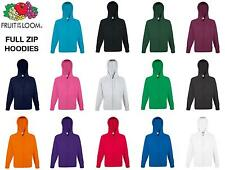 Fruit Of The Loom FULL ZIP HOODED SWEATSHIRT JUMPER HOODIE PLAIN MENS WOMENS