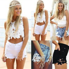 UK Womens Boho Lace Ripped Frayed High Waist Beach Denim Jeans Shorts Hotpants