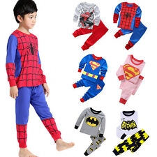 Kids Marvel DC Hero Spiderman Shirt Pants Nightwear Pyjamas Sleepwear Outfit Set