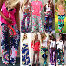 Women Sexy Loose Floral Casual High Waist Wide Leg Long Pants Palazzo Trousers #