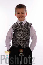 Boys Suits Pageboy Formal Wedding Suit 4pc Silver Paisley 0-3mths-15yrs