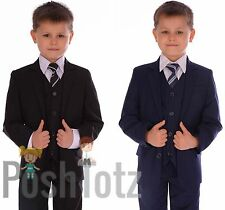 Boys Suit Fitted Wedding Pageboy Suits 5pc Black, Navy Blue, Poshtotz