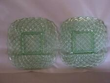 """TWO LE SMITH 9"""" GREEN SQUARE GLASS PLATES TRELLIS PATTERN"""