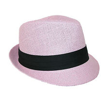 New Jeanne Simmons Kids' Straw Pleated Band Easter Fedora Hat