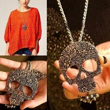 Vintage Punk Rock Skull Pendant Gothic Long Chain Sweater Necklace