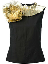 NWT DRIES VAN NOTEN GOLD RUFFLE SWIRL COTTON TOP