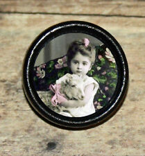 EASTER Victorian photo GIRL & SHEEP Altered Art Tie Tack or Ring or Brooch pin
