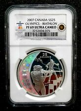 2007 Canada Silver Proof  S$25 Olympics NGC Graded PF 69 Ultra Cameo BIATHLON