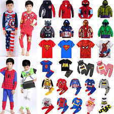 Marvel DC Superhero Kids Clothes Batman Hoodies Tops Pants Nightwear Outfits Set