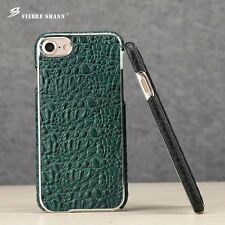 Luxury Genuine Leather Crocodile Grain Hard Back Covers Cases For Apple iPhone 7