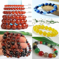 100% Natural Agate Bead Fashion Round Gemstone Women Men Stretch Bracelet 6-18mm