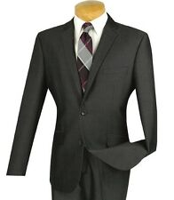 Men's Charcoal Gray Textured Weave 2 Button Slim Fit Suit NEW