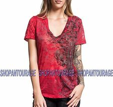 Sinful Sweetwater S3862 Women`s New Red Burnout V-neck Top By Affliction