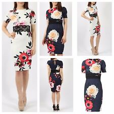 WOMENS LADIES 1/2 SHORT SLEEVE FLORAL PRINT LACE WAIST DETAIL BODYCON MIDI DRESS