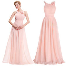 Women Formal Long Evening Ball Prom Gown Cocktail Party Bridesmaid Dress Pink