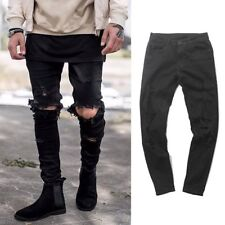 Ripped Mens Skinny Slim Fit Denim Jeans Distressed Tapered Punk Trousers Pants